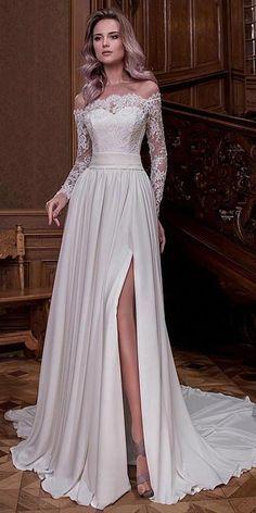 Fabulous Tulle & Satin Chiffon Off-the-shoulder Neckline A-line Wedding Dresses With Slit & Beaded Lace Appliques #weddingDresses