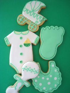 Pink Cake Pequeña: cookies ducha verde y blanco del bebé
