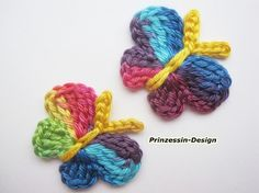Rainbow butterflies - crocheted! I want to make them!