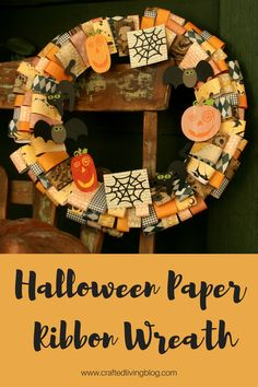 Halloween Paper Ribbon Wreath - Create a spooky Halloween Paper Ribbon Wreath using Cricut cartridges, patterned papers, book pages and cardstock. Halloween Ribbon, Halloween Crafts, Halloween Decorations, Spooky Halloween, Halloween Ideas, Paper Ribbon, Diy Paper, Paper Crafts, Holiday Wreaths