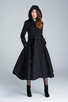 black wool coat long trench coat hooded coat wool coat by xiaolizi