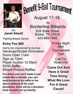 Borderline Billiards to host benefit pool tournament for pro player Janet Atwell