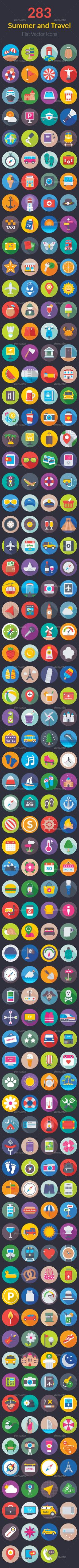 283 Summer and Travel Flat Icons — Vector EPS #set of travel icons #flat icons • Available here ➝ https://graphicriver.net/item/283-summer-and-travel-flat-icons/20727421?ref=pxcr