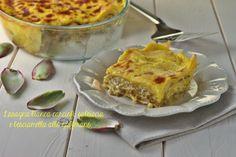 Lasagna+bianca+carciofi+salsiccia+e+besciamella+allo+zafferano