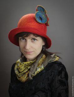 """Шляпка """"Марсианская поляна"""" - ярко-красный,шляпка женская,оригинальная шапка"""