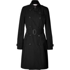 BURBERRY LONDON Cotton Gabardine Long Kensington Trench Coat In Black ($1,305) ❤ liked on Polyvore featuring outerwear, coats, jackets, casacos, coats & jackets, long coat, long trench coat, cotton coat, double-breasted trench coat and long sleeve coat