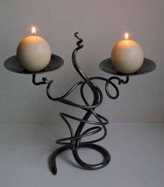 Belltrees Forge wrought iron contemporary Scottish candlestick Double Tangle in stock for next day dispatch
