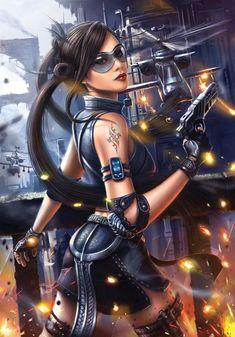 Future Girl, Cyberpunk, Futuristic, Concept Art by Bryan Marvin P. 3d Fantasy, Fantasy Women, Fantasy Girl, Dark Fantasy, Lady Mechanika, Lady Deathstrike, Harrison Ford, Blade Runner, Science Fiction