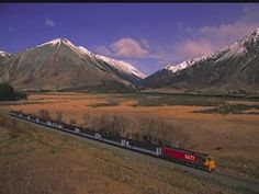 NZ. The TranzAlpine is a well known scenic train, running between the cities of Christchurch and Greymouth. Copyright photograph, kind permission of the New Zealand Tourism Board.