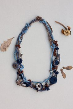 Multistrand beaded necklace in brown and blue Rustic statement jewelry with crochet and bamboo beads, OOAK
