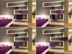 DORMITORIO MODERNO PURPURA BLANCO Y GRIS via www.dormitorios.blogspot.com DORMITORIO MORADO Y BLANCO