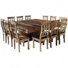 Dallas Ranch Large Square Dining Room Table and Chair Set For 12 - tisch Large Square Dining Table, Pedestal Dining Table, Wooden Dining Tables, Table Seating, Dining Table Chairs, Dining Room Furniture, Room Chairs, Desk Chairs, Office Chairs