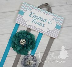 HAIR BOW HOLDER - Personalized Aqua Turquoise Grey Chevrons Dots HairBow Holder - Bows Clip Organizer Girls Hair Bow and Clip Hanger Hb0128