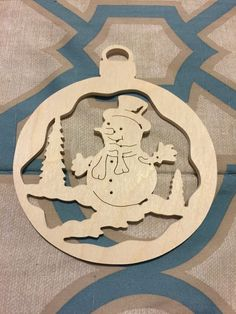 Scroll sawn round wooden Snowman handcrafted Christmas tree ornament