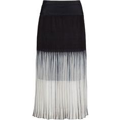 Evelin Brandt Black / White Plus Size Monochrome chiffon maxi skirt (1 945 ZAR) ❤ liked on Polyvore featuring skirts, black, plus size, plus size white maxi skirt, plus size midi skirt, long chiffon skirt, white maxi skirt and long midi skirt