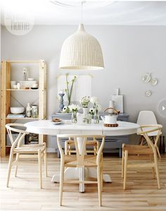 Interior Scandinavian style on a budget is part of Scandinavian dining room - Style at Home style and food editor Tara Ballantyne creates a budgetfriendly look that's all her own Dining Room Design, Dining Area, Dining Chairs, Dining Rooms, Wood Chairs, Round Dining, Ikea Round Table, Oval Table, Bag Chairs