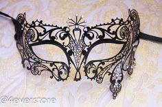 Black Laser Cut Venetian Masquerade Costume Mask with Diamonds - Made of Light Metal on Etsy, $32.95