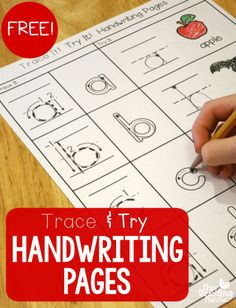 Ditch those boring handwriting pages! Included in this free sample pack are trace and try handwriting pages for upper and lowercase letters. Preschool Letters, Preschool Printables, Learning Letters, Alphabet Activities, Preschool Kindergarten, Preschool Worksheets, Preschool Learning, Preschool Activities, Free Alphabet Tracing Printables