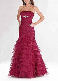Strapless Drop Waist Layered Skirt Full Length Prom Gown