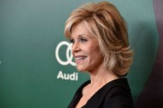 Jane Fonda medium layered hairstyle