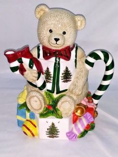 Spode Hand Painted Ceramic Teddy Bear Christmas Tree Teapot Candy Cane Handle #Spode