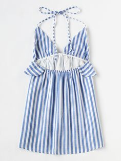 SheIn offers Halter Neck Vertical Striped Frill Trim Dress & more to fit your fashionable needs. Summer Outfits, Cute Outfits, Summer Dresses, Casual Wear, Casual Dresses, Fashion Outfits, Womens Fashion, Diy Clothes, Dresses Online