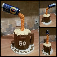 Anti Gravity floating beer and tankard cake for a friend's 50th birthday