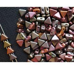 50pcs Khéops® par Puca® 6mm 2-hole Czech Glass Pressed Beads Crystal Violet Rainbow