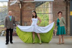 Amazing green-undersided wedding dress! Love the idea of this, but not a hi-lo, that look does not work for me