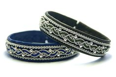 The Scandinavian Sami womens bracelets are made from soft leather of deer and lamb with an original plaiting pewter thread.