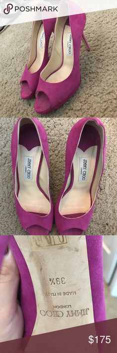 Jimmy Choo pumps Fuchsia pink, suede, worn but in great condition, haven't been worn in a year, no imperfections in the suede Jimmy Choo Shoes Heels