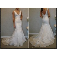 V-Neck Mermaid Trumpet Wedding Gowns Bridal Dresses with Straps Style186