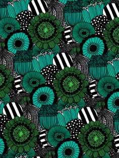 Green flowers for days as far as the eye can see | Banana Republic x Marimekko Textile Prints, Textile Design, Fabric Design, Textiles, Textures Patterns, Fabric Patterns, Color Patterns, Surface Pattern Design, Pattern Art