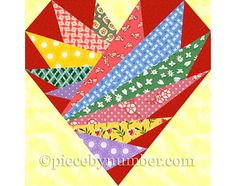 Feathers In My Heart quilt block pattern door PieceByNumberQuilts