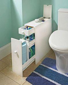 Slim Bathroom Storage Cupboard Thin Cabinet Unit White Slimline NEW & BOXED