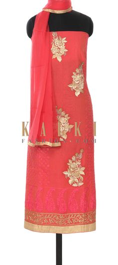 BUy this Pink unstitched suit embellished in resham and zari only on Kalki