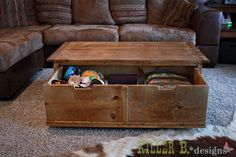 Ana's Tidy Up Coffee Table, Killer b style! Build a solid wood table with trundle storage for $85. Can't beat it!