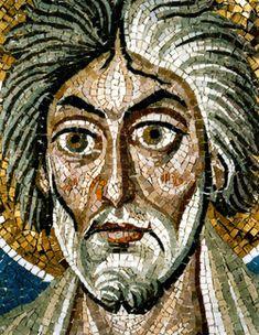 Basilica di San Vitale, Ravenna. I mosaici bizantini del periodo giustinianeo. 546-547. Intradosso dell'arco di accesso al presbiterio. SANT'ANDREA
