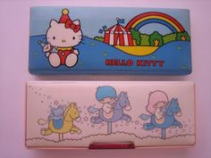 hello kitty pencil holder. little twins star  I had the top one in the 5th grade :)