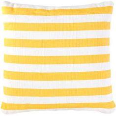 Pillows - Trimaran Stripe Indoor/Outdoor Pillow - Yellow & White