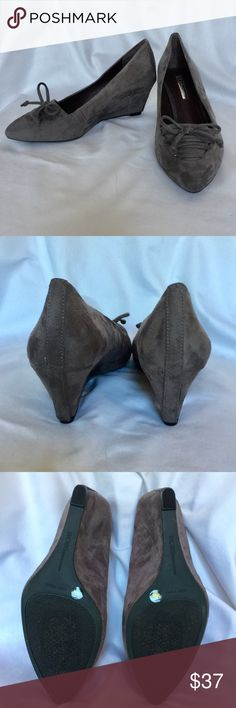 BCBGeneration Gray Suede Pumps NWOT and never worn, these beautiful shoes have lace front and suede heel. No box. BCBGeneration Shoes Heels