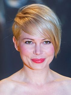 "Michelle Williams  Michelle's deep side-part and long bangs create a cool, asymmetrical look. ""I've been seeing plenty of short cuts that are taking on more 'tomboy' shapes, with details that have a masculine edge,"" says Mapile."