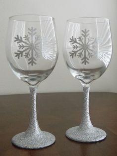 Glitter stem vinyl snowflake wine glasses