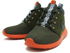 Nike Roshe Run SneakerBoot: Dark Loden/Orange