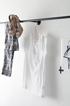 Love this curtain rail idea. Perfect for planning outfits out ahead.