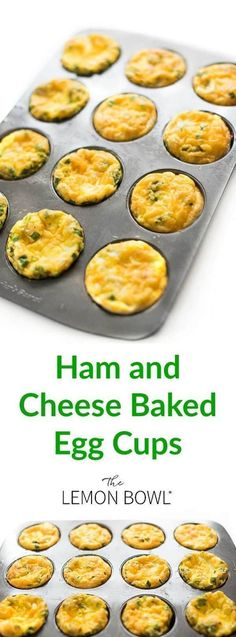 Ham and cheese baked egg cups are the ideal, protein-packed breakfast that can be made ahead in a muffin tin and quickly reheated on busy weekday mornings. in muffin tin Eggs In Muffin Tin, Muffin Tin Recipes, Egg Recipes, Lunch Recipes, Recipies, Dessert Recipes, Ham And Eggs, Eggs In A Cup, Protein Packed Breakfast