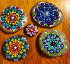Hand Painted Rock Blue Purple Mandala Stone by P4MirandaPitrone