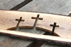 Three crosses carved on the oak plank Calvary crosses Jesus God Holly Spirit Church Christians Wood Turning Projects, Diy Wood Projects, Wood Crafts, Wooden Crosses, Wall Crosses, Crosses Decor, Wooden Stars, Learn Woodworking, Woodworking Projects Diy