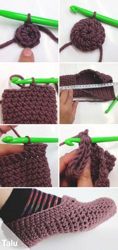 Crochet slippers - DIY instructions for cool slippers, Instructions # for # crochet . Crochet slippers - DIY instructions for cool slippers, Always aspired to . Crochet Gratis, Crochet Baby, Free Crochet, Knit Crochet, Knitted Baby, Crochet Shoes, Crochet Slippers, Baby Knitting Patterns, Crochet Hat Patterns