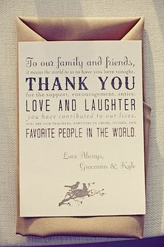 instead of sending out thank you notes after the wedding put these on each place